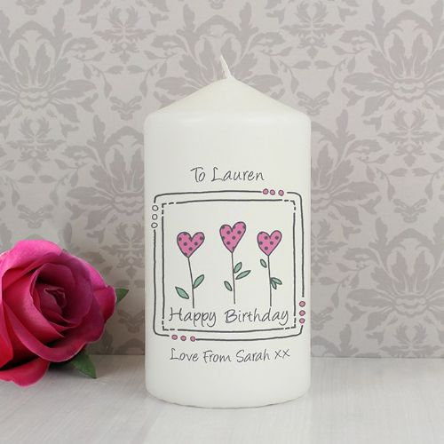 Personalised 3 Hearts Message Candle